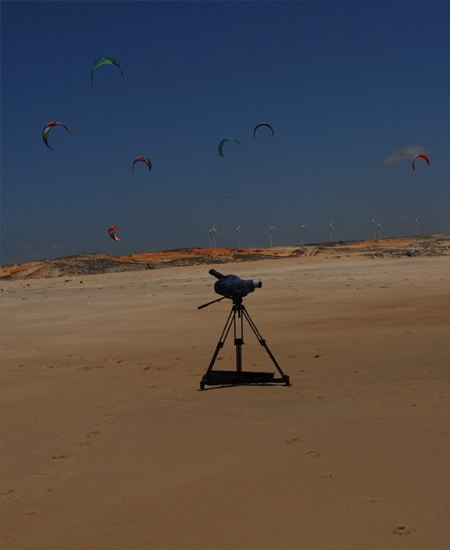 camera and kites in the background