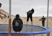 Practicing on the trampoline - Kite Camp Dakhla